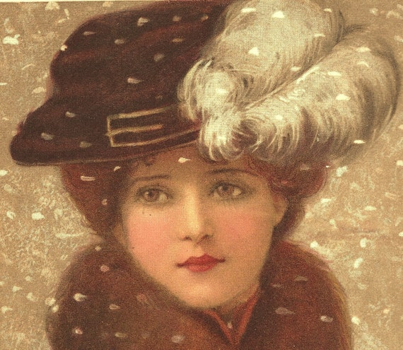 1906 Chromolithograph of a Girl in Winter by C. W. Quinnell
