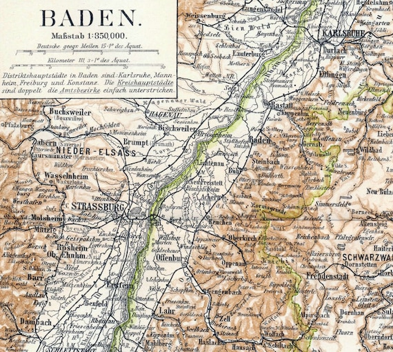 1895 Antique Map of Baden, Germany - Baden Antique Map - Antique Germany Map