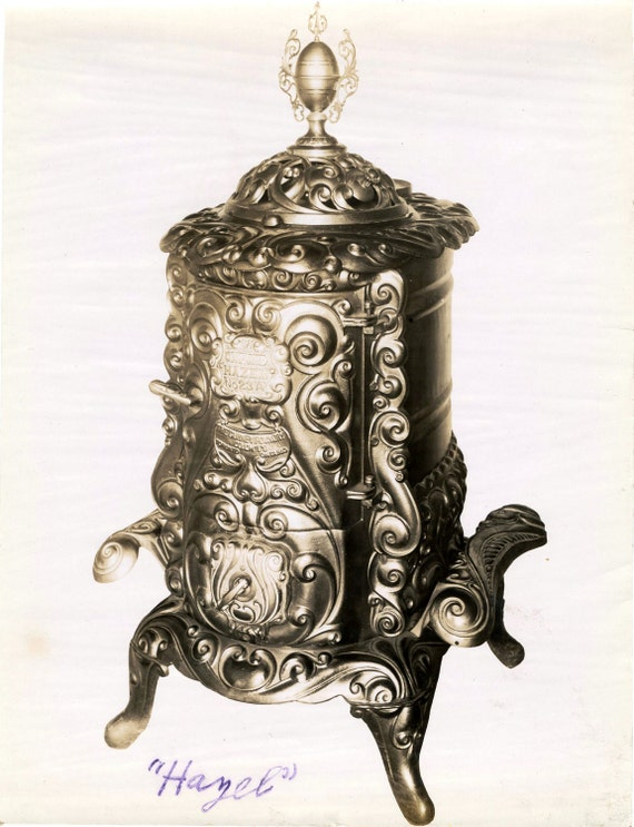 Late 1800s to early 1900s Antique Linen-Backed Sepia Photograph of a Hazel Stove from the Gurney-Oxford Foundry Co.