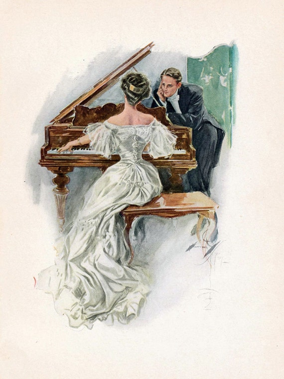 1907 Antique Harrison Fisher Illustration. Such Joy to Hear Her Sing. From A Dream of Fair Women