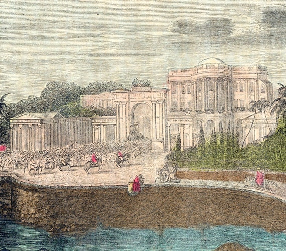 1857 Antique Hand-coloured Print. Palace of the British Resident at Hyderabad, India.