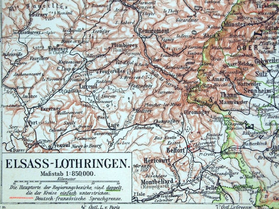 1895 German Vintage Map of Alsace-Lorraine - Vintage City Map - Old City Map