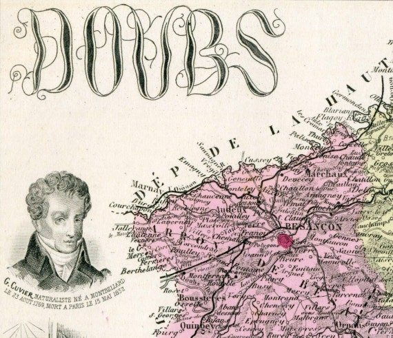 1883 Antique Hand-Coloured Map of the Doubs Department, France