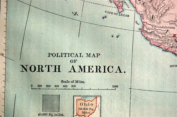 1882 Political Map of North America