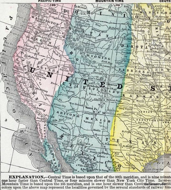 Antique Map of the United States - 1901 Map Showing the Divisions of Standard Time