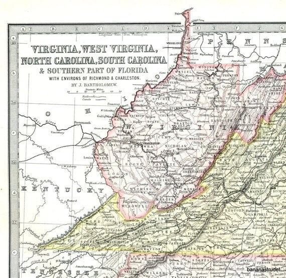 1890 Large Historical Map Of Virginia West Virginia The