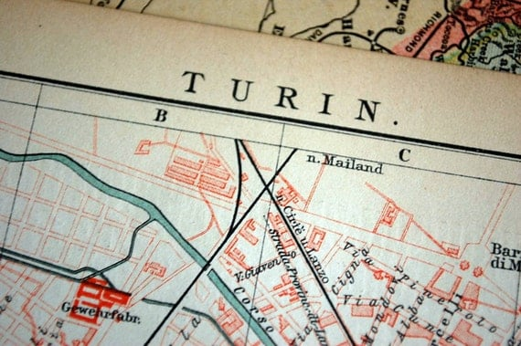 1895 Antique City Map of Turin, Italy