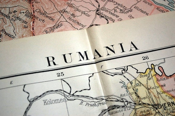 1920 Very Large Antique Map of Rumania or Romania