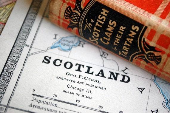 1883 Antique Map of Scotland