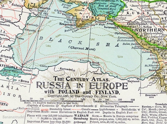 1897 Antique Map of  Russia with Poland and Finland