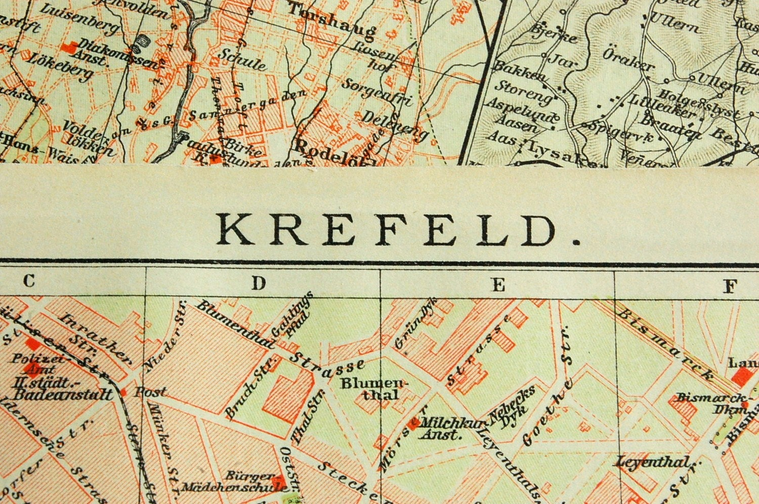 Krefeld Germany  City new picture : 1902 Vintage Map of Krefeld Germany Vintage City by bananastrudel