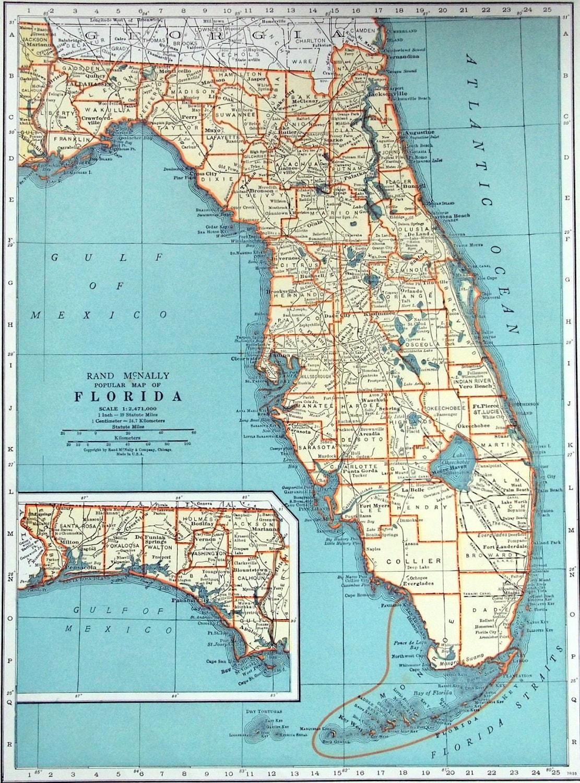 1937 Vintage Map Of Florida Florida Vintage Map