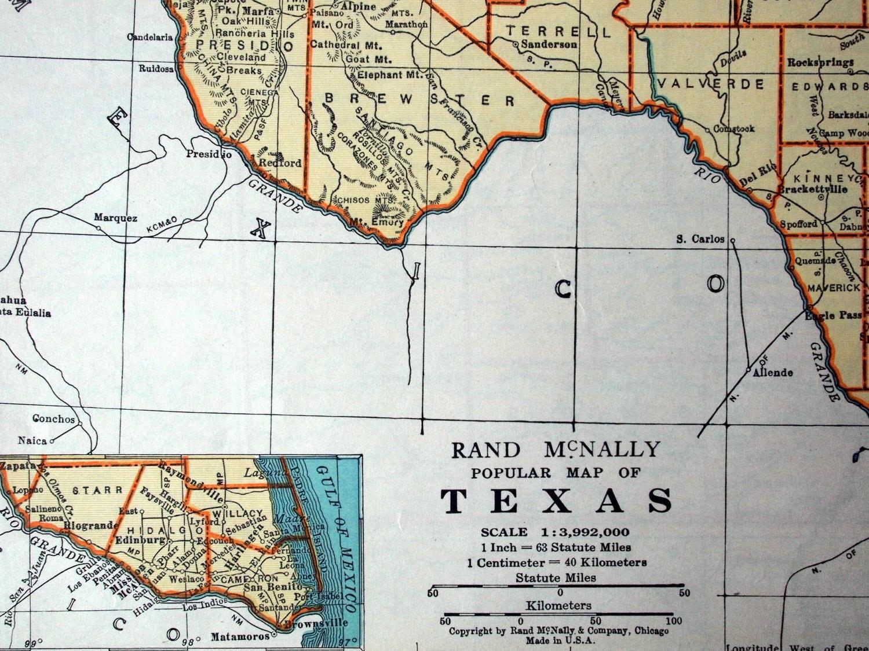 1937 Vintage Map Of Texas Vintage Texas Map Texas Vintage