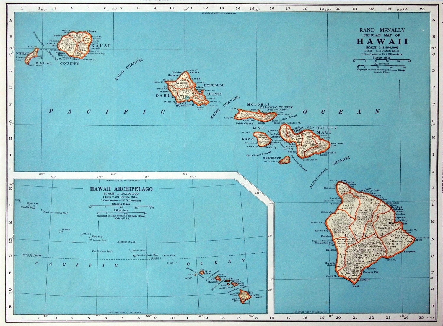 1937 Vintage Map of Hawaii Hawaii Vintage Map