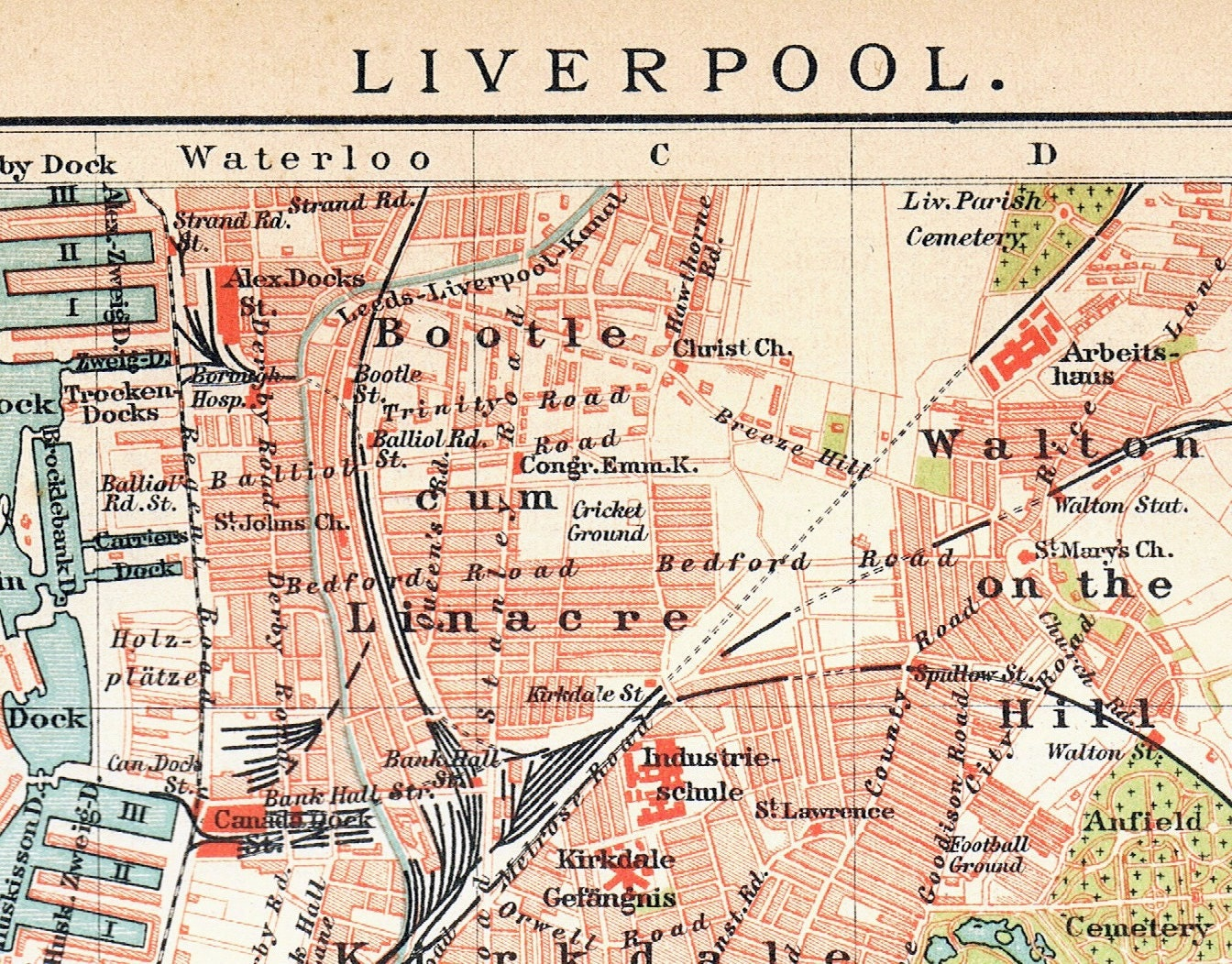 1895 Antique Map of Liverpool the UK