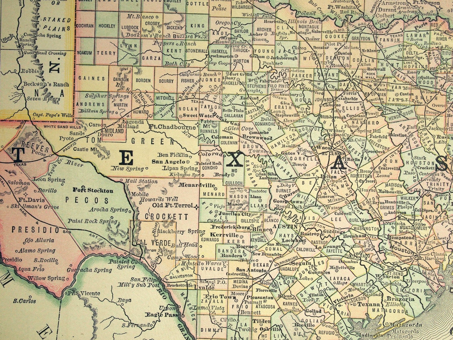 1887 Antique Map Of Texas And Indian Territory
