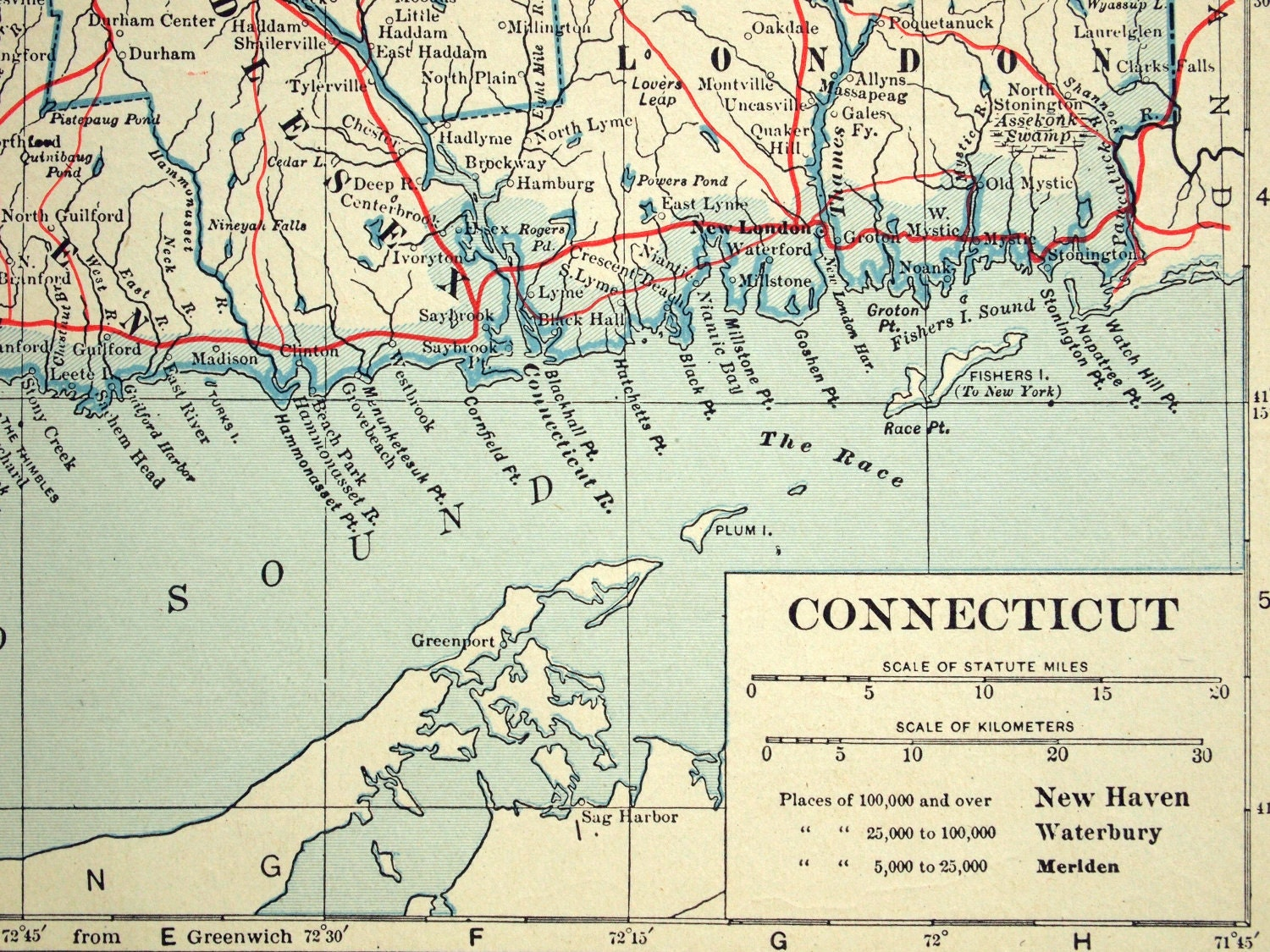 1919 Antique Map Of Connecticut And Rhode Island By