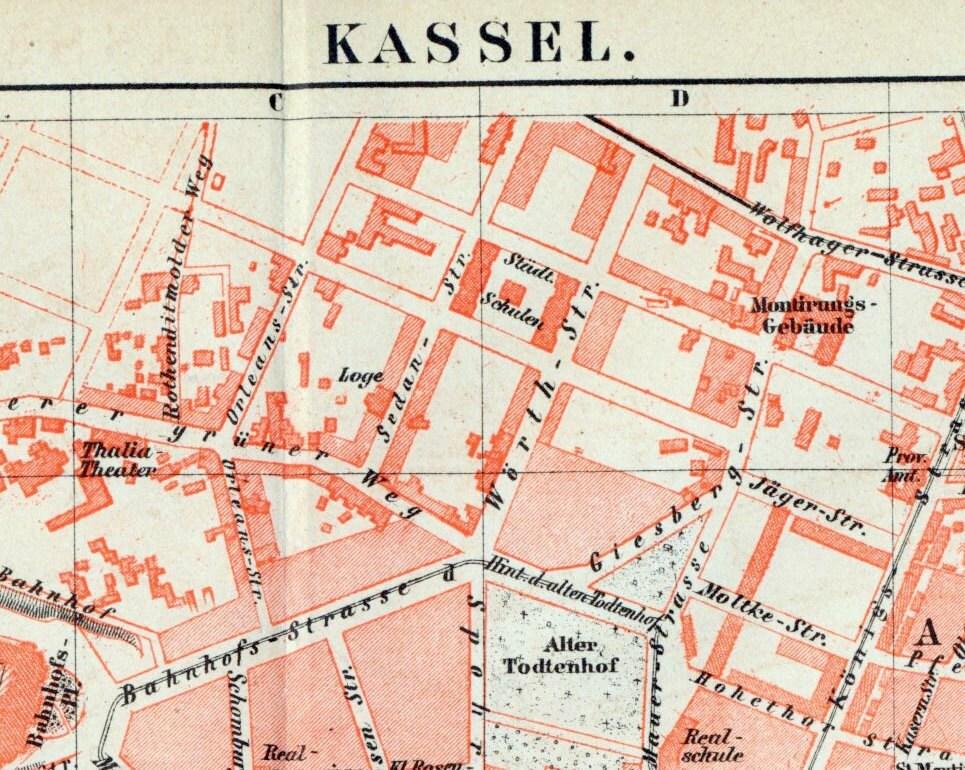 German Vintage Map Of Kassel Germany Vintage City Map - Germany map kassel