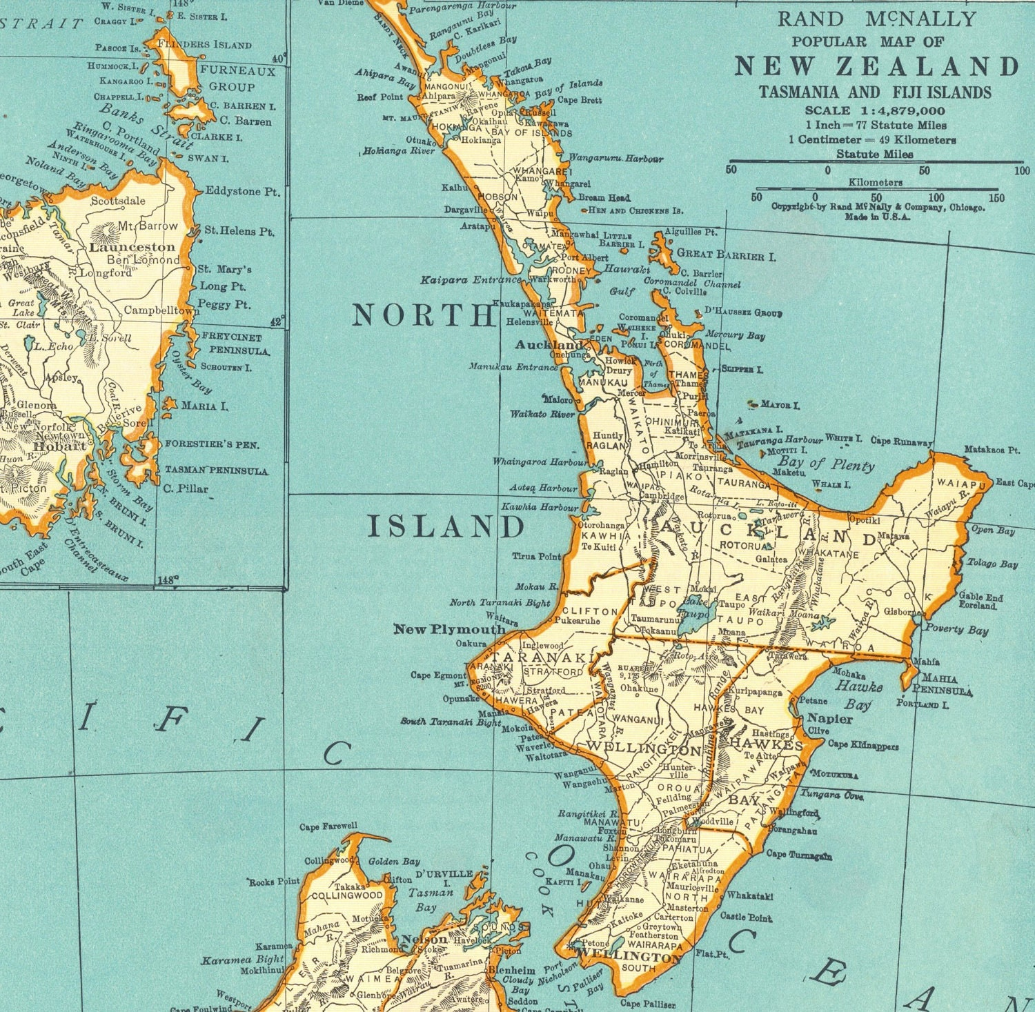 1937 vintage map of new zealand with tasmania and the fiji zoom gumiabroncs Gallery