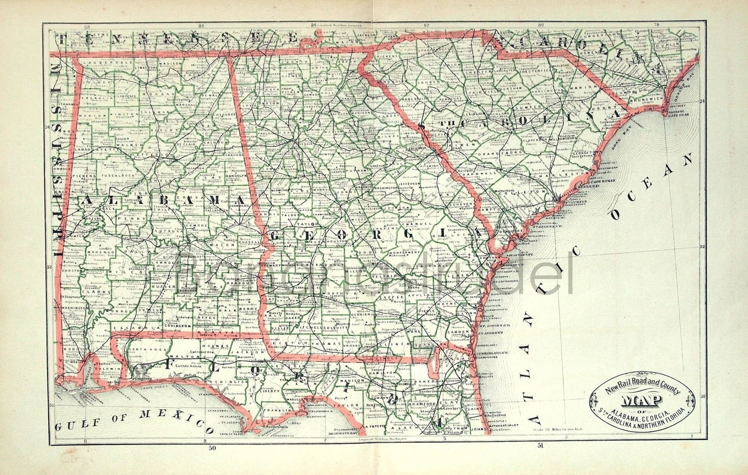 Alabama Florida Georgia South Carolina And Tennessee County Map