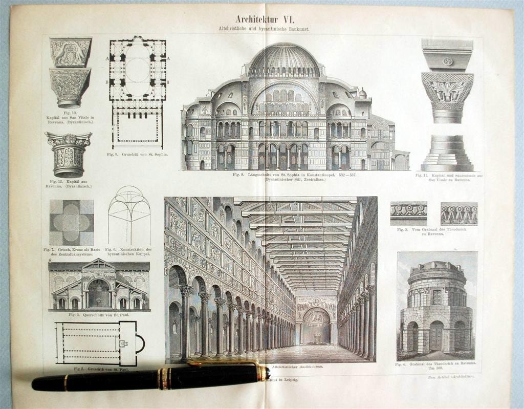 1895 Antique Print Of Byzantine Church By Bananastrudel On