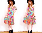 FREE Worldwide Shipping VINTAGE 90's Floral Flapper Sun DRESS