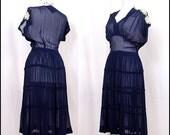 Vintage 30's Dress xs/s - STUNNING Sheer Dress 1930's, navy blue, tiered skirt, gathered bust, high waist - FREE worldwide shipping