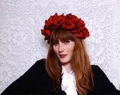 BEAUTIFUL Romantic Floral Crown - lush red roses, statement headband, so chic - FREE worldwide shipping