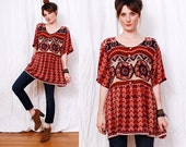 Vintage Ethnic Tunic Mini Dress one size - amazing chevron and geometric pattern - FREE Worldwide Shipping
