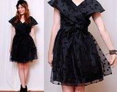 Cutest SHEER BLACK 80's Party Dress xs/s/m  - best dress ever, adorable mini shape, giant collar - FREE Worldwide Shipping