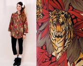 Vintage 80s Womens Blouse - Jungle Tiger Animal Print, safari boho peasant blouse, oversized slouchy one size - FREE Worldwide Shipping