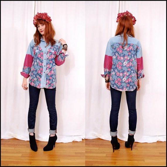 Vintage 90s floral chambray shirt - this button up blouse is the coolest shirt around, pink colorblock sleeves - FREE worldwide shippping