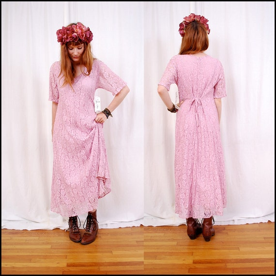 FREE Worldwide Shipping VINTAGE 90's Pale Pink Lace MAXI Dress