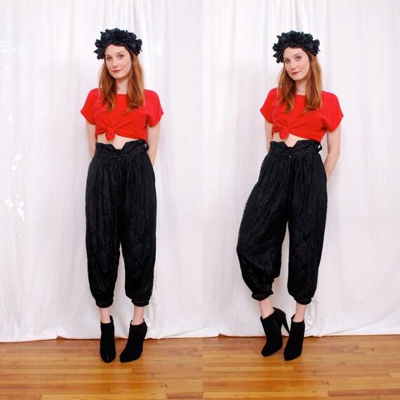 Vintage 80s High Waist Trouser Pant s/m - Sheer Black Lace Harem Pant, high waist, wide belt loops, killer shape - FREE Worldwide Shipping