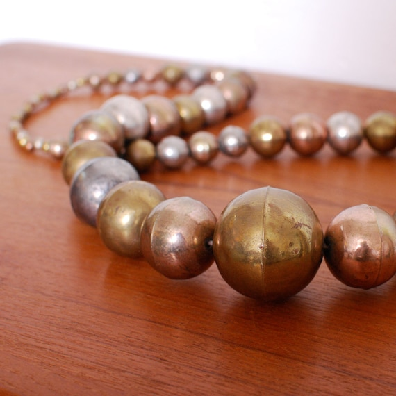 Vintage Giant METAL BEADED Statement Necklace - oversized and so cool, stand out piece, one of a kind - FREE worldwide shipping