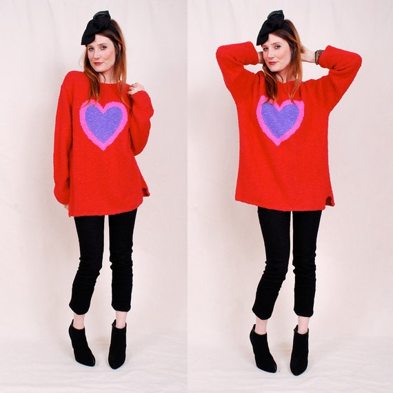 Adorable Vintage Giant HEART Sweater - bold red color, amazing oversized shape, so cozy and soft - FREE Worldwide Shipping