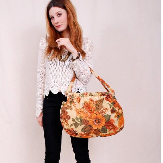 Vintage CARPET BAG Purse - Velvet Floral Tapestry 70s hippie - tangerine orange, soft velvet, great slouchy shape - Free Worldwide Shipping