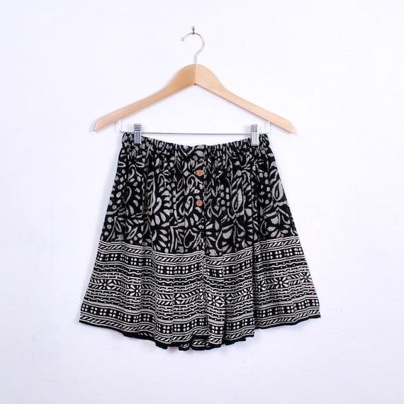 Adorable Handmade Mini Skirt - one size - black and white, geometric tribal print, sheer rayon