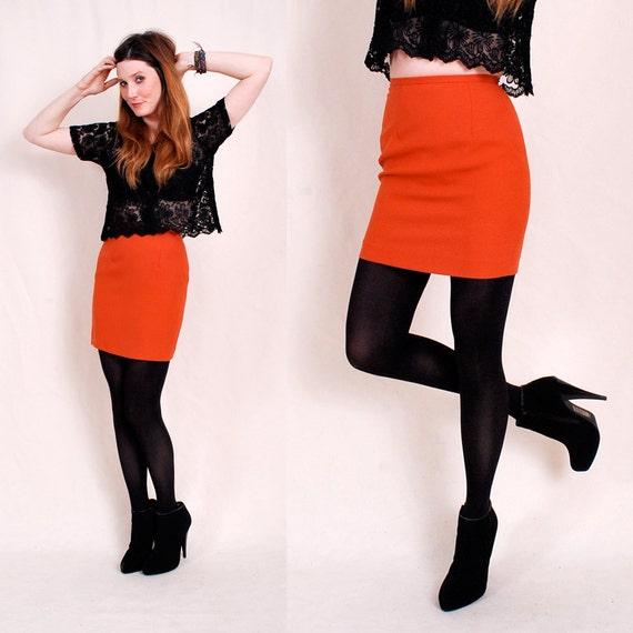 Vintage COLOR BLOCK Mini Skirt - 90s bandage skirt xs/s - tangerine citrus orange, sexy shape, colorblocking cool  - FREE Worldwide Shippin