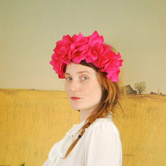 Floral Headband Wreath Crown - bright, fuschia pink roses, statement headband, so chic - FREE worldwide shipping