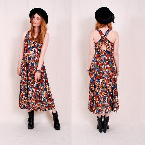 Vintage 90s Maxi Dress xs s m - southwestern hippie, ethnic tribal print, summer sun dress, cross body halter - FREE Worldwide Shipping
