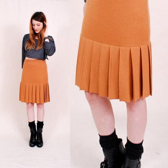 Vintage High Waisted Skirt Pencil Skirt - 60s skirt, pleated, knit wool blend sweater skirt, knee length - FREE Worldwide Shipping