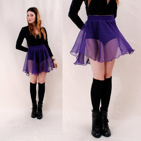 Vintage 80's Mini Skirt Sheer High Waist Skirt high low