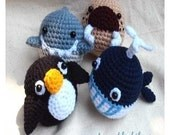 Instant Download Amigurumi Crochet PDF Pattern - Sea animal egg dolls