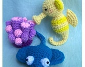 Instant Download Amigurumi Crochet PDF Pattern - friends from ocean seahorse stingray and coral