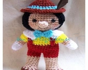 Amigurmi Pattern-Pinocchio A Long Nose Boy, Dolls Pattern, Character Crochet Pattern, Ami pattern,Amigurmi Crochet Dolls Pattern