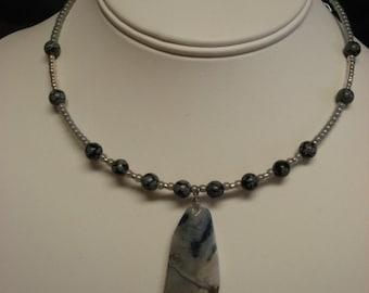 Snow Obsidian Jasper Choker, 2 Strand Bracelet And Earrings