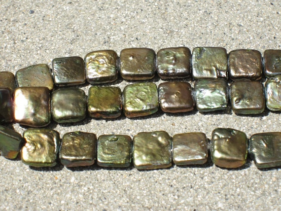 Stunning Olive Green Square Coin Pearls