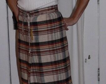 Cocoa fall plaid wool skirt