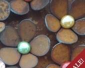 SALE - Set of 3 - Flower Magnets Steel Metal Glass  - 3 FOR 15.00